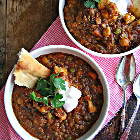 Lentil and Chick Pea Curry with Coconut Milk