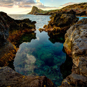 Olivine Pools by Tom Cuccio - Landscapes Caves & Formations ( maui, olivine, rock, morning, pools, hawaii )