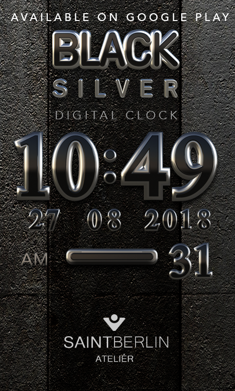Black Silver Clock Widget Screenshot 2