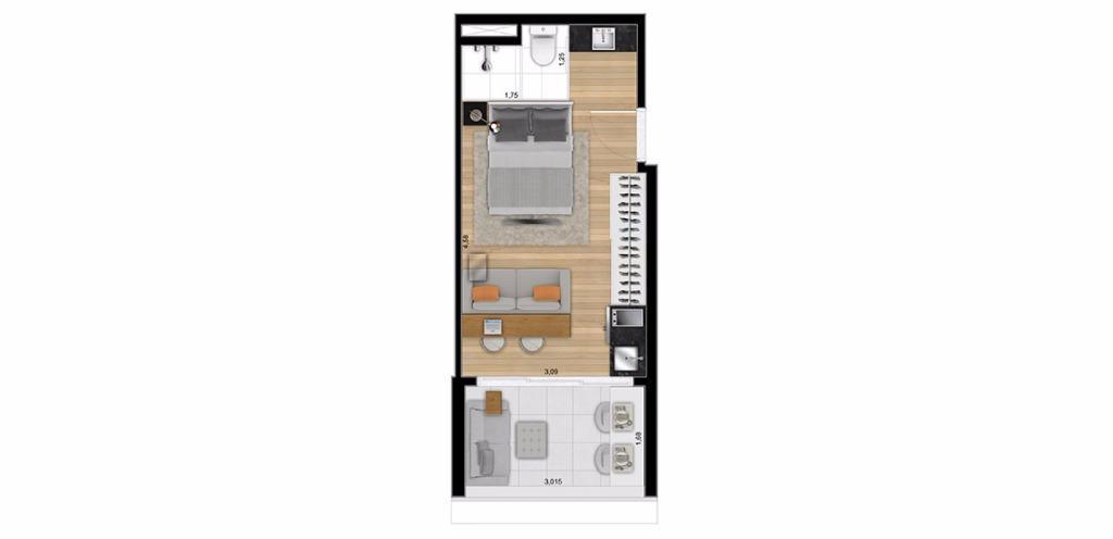 Planta Studio 28 m²