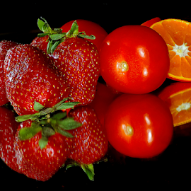 orange,strawberry and tomatoes by LADOCKi Elvira - Food & Drink Fruits & Vegetables ( fruits,  )