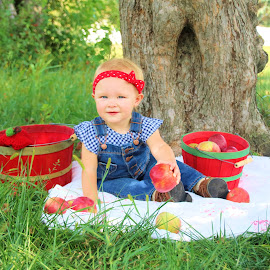 Hazel loves apples by Jodi Zimmer - Babies & Children Child Portraits ( girl, red, tree, apples, baskets, country )