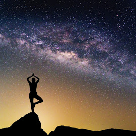 Landscape with Milky way galaxy. Night sky with stars and silhou by Nuttawut Uttamaharach - Landscapes Starscapes ( exposure, constellation, mountain, bright, fitness, silhouette, way, beauty, observatory, travel, long, space, landscape, panorama, science, clear, over, planet, sky, nature, practicing, woman, dark, cosmos, light, black, nebula, star, sport, cosmic, telescope, universe, astronomy, field, blue, outdoors, background, summer, night, milky, yoga, panoramic, galaxy )
