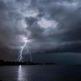 Positive bolt by Matic Cankar - Landscapes Weather ( thunder, clouds, lightning, bolt, thunderstorm, summer, sea, night, storm )