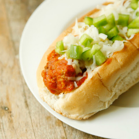 Garlicky Homemade Meatball Subs with Asiago and Green Peppers