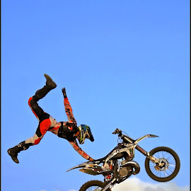 Out of the Blue by Craig McNiven - Transportation Motorcycles ( flight, sky, bike, motorcycle, stunt,  )