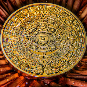 Gold, Calendar,Antique, Historic,Lumix fz2500 Gold Calendar Coin by Dave Walters - Artistic Objects Antiques ( macro, coin, myan, antique, lumix fz2500,  )