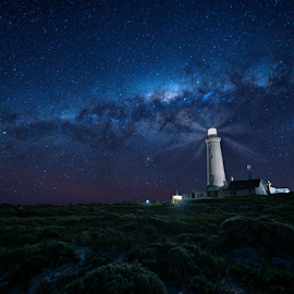 Light House by Clive Wright - Landscapes Starscapes ( beams, milky way, lighthouse, light, night, dark, stars )