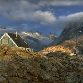 Panorama from Tinitqilaq, East Greenland by Tim Vollmer - Buildings & Architecture Homes ( glacier, clouds, houses, mountains, mountain, colorful houses, sunset, ice, tinitqilaq, east greenland, panorama )