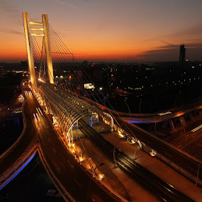 Basarab Bridge by Nicu Buculei - City,  Street & Park  Skylines ( lights, sunset, bridge, road, city, , night, Urban, City, Lifestyle )