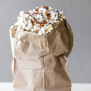 Hot Pepper Bacon Popcorn with a Chocolate Drizzle