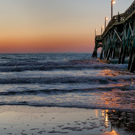 Surfside Pier Sunrise by Alan Roseman - Landscapes Sunsets & Sunrises ( surfside, surfside beach, ocean, beach, beach.sunrise, atlantic, spring, south carolina, coast )