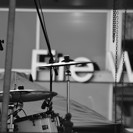 The Cymbal by Thomas Shaw - Artistic Objects Musical Instruments ( drum set, black and white, white, drums, stage, cymbals, photography, sign, cymbal, band, tent, drum, black )