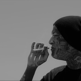 Tattooed Smoker by VAM Photography - People Street & Candids ( tattoo, b&w, cigarette, culture, man, portrait )