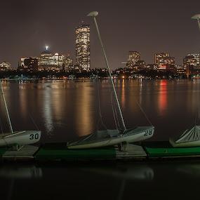 30, 28, 6 by Daniel Gorman - City,  Street & Park  Skylines ( prudential, boston, charles river, sail boats, sail, massachusetts, sail boat, cambridge, john hancock, boston skyline,  )