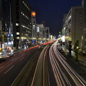 Night time Traffic by Mark Lendacky - City,  Street & Park  Street Scenes ( lights, traffic, night, hiroshima, city )