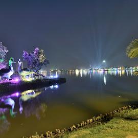 Park by Kuntal Das - City,  Street & Park  City Parks ( lights, water, park, sunset, night, travel, river, city )