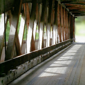 Criss Cross by Melissa Davis - Digital Art Things ( ashtabula ohio, covered bridge, rafters, missysphotography, lake )