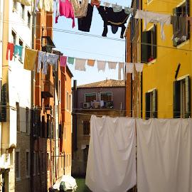 The Laundry of Venice by Randi Hodson - City,  Street & Park  Neighborhoods ( venice, laundry, italy,  )