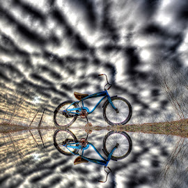 Blue Bike, Rippling Clouds by Eric Demattos - Transportation Bicycles ( eric demattos, mirrored, antique bike, blue bike, old bike )
