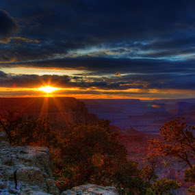 Days Last Rays by Dave Files - Landscapes Sunsets & Sunrises ( clouds, park, night, suset, digital, grand canyon )
