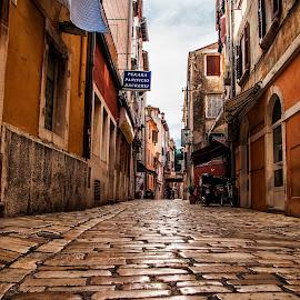 empty street by Eseker RI - City,  Street & Park  Street Scenes ( croatia, rovinj )