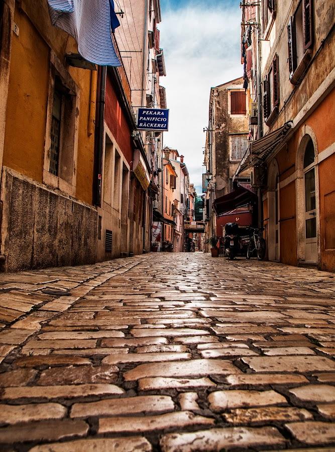 empty street by Eseker RI - City,  Street & Park  Street Scenes ( croatia, rovinj,  )
