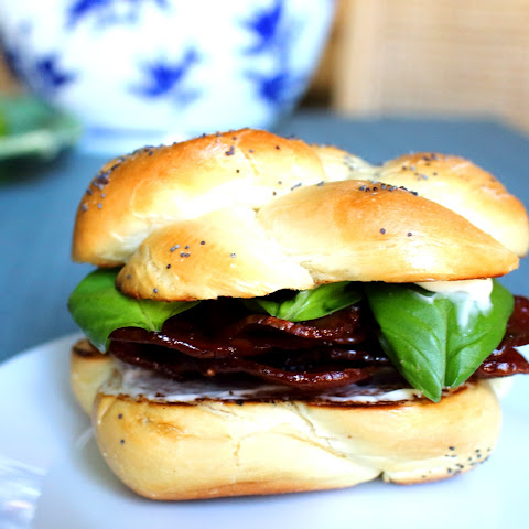 Turkey Bacon and Basil Butty on a Homemade Kaiser Roll