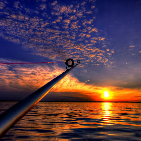 Droppin a Line by DE Grabenstein - Landscapes Sunsets & Sunrises ( fishing pole, fishing, nebraska )