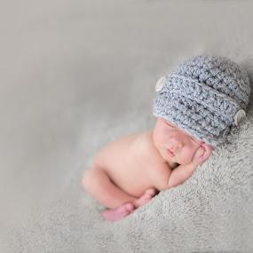 Little Man by Jude Stewart - Babies & Children Babies ( studio, negativespace, grey, baby, boy, newborn,  )