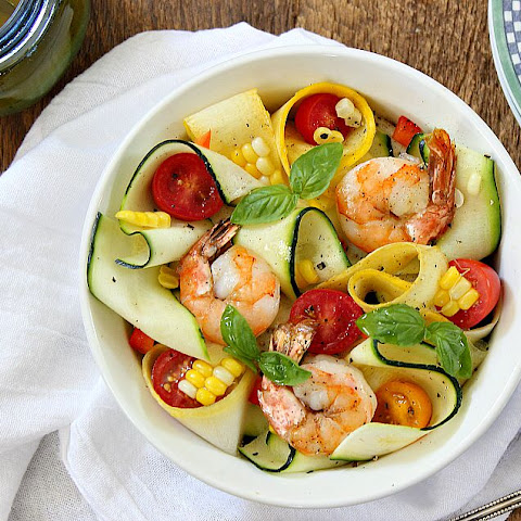 Zucchini Ribbon Salad with Roasted Corn, Shrimp and Citrus-Ginger Vinaigrette
