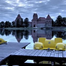 Morning in Trakai by Leonid Slauto - City,  Street & Park  Historic Districts ( trakai, lake, castle, yellow, dusk )