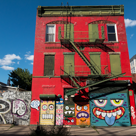 Facade Faces by Nils Agrell - Buildings & Architecture Other Exteriors ( building, red, street art, williamsburg, architecture, new york, brooklyn )