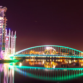 Media City by Night by Ray Tickle - Buildings & Architecture Bridges & Suspended Structures