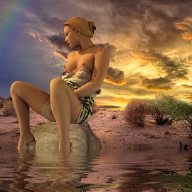 On a Rock by Charlie Alolkoy - Digital Art People ( nude, desert, woman, sunset, rock, storm )