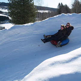 winter fun by Ester Ayerdi - City,  Street & Park  Amusement Parks ( friends, winter, amusement park, park, amusement, winter sport, racing, parks, snow, funny, snowy, fun, race, norway )