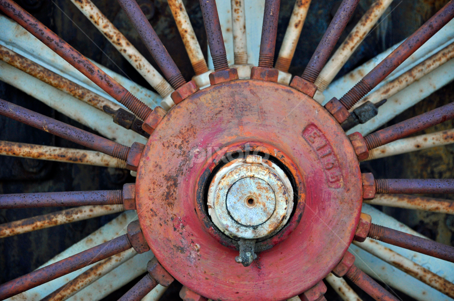 Steel Wheel by Keith Sutherland - Products & Objects Industrial Objects ( steel rust old vintage wheel tractor thread, circle, pwc79 )