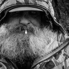frigid by Wesley James - People Street & Candids ( black and white, homeless, street, people, portrait,  )