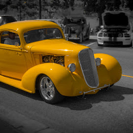 Following The Yellow Line by Ron Mullins - Transportation Automobiles ( rod, car show, yellow, hot rod, custom car, custom )