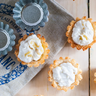 Macaroon Cups with Ginger Coconut Whipped Cream and Pineapple