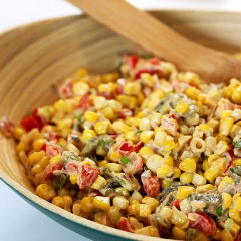 Healthy Spicy Creamy Corn With Roasted Poblanos