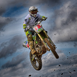 13, Lucky Number ! by Marco Bertamé - Sports & Fitness Motorsports ( clouds, speed, green, number, 13, race, noise, jump, flying, red, motocross, clumps, air, high )