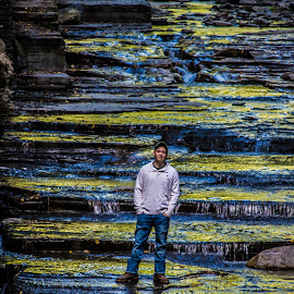 On The Edge by Ashley Kirk - People Portraits of Men ( water, waterfall, men, landscape, portrait )