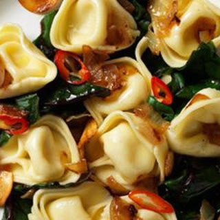 Tortellini with Caramelized Onions, Chard and Garlic Oil