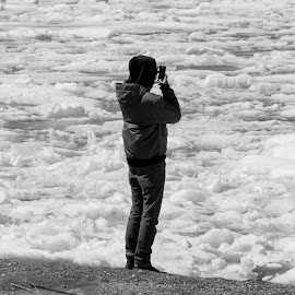 Cell shot of the ice by Wilma Michel - Black & White Street & Candid ( girl, black and white, ice, cell, beach )