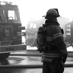 Fighter by Sam Reed - People Street & Candids ( hero, black and white, fire fighter, fire truck, fire )