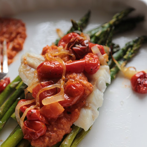 30 Minute Roasted Asparagus and Cod with Rustic Tomato Sauce