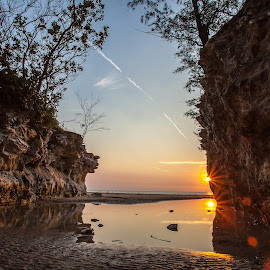 Dripstone Sunset by David Millard - Landscapes Sunsets & Sunrises ( water, reflection, cliffs, sunset, beach, darwin, dripstone )