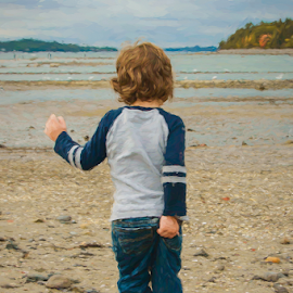 Picky Picky by Chris Cavallo - Typography Captioned Photos ( maine, funny, beach, fun, toddler, boy, captioned )