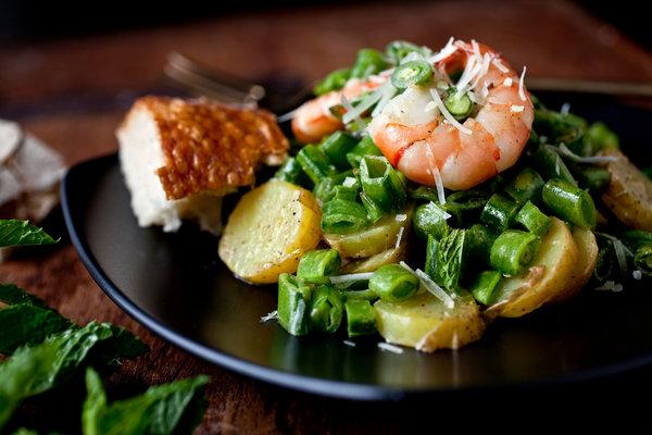 Shrimp, Sugar-Snap Pea and Potato Salad With Mint and Pecorino Recipe ...